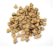 100 Wooden MDF Mini Hearts (12mm) - craft shapes, embellishments, cardmaking