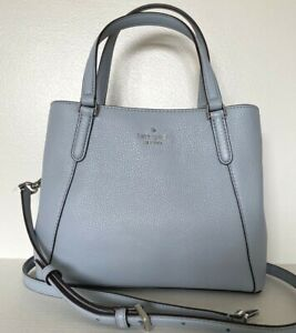 New Kate Spade Jackson Medium Triple compartment Satchel Leather Frost Blue