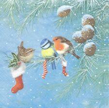 2 serviettes en papier Oiseaux de Noël Paper Napkins Three Birds on the Branch