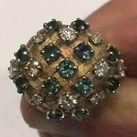 Vintage Diamond Emerald Domed 14k Gold Pie Crisscross Cluster Ring