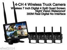 """DIGITAL 7"""" Wireless Quad 4Ch Car Monitor+4x IR Backup Rearview Truck CCD Camera"""