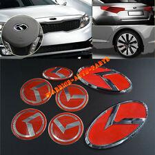 For KIA OPTIMA K5 3D K Logo Badge Emblems Red 7PCS Full Set 2011 2012 2013 2014