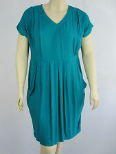 Autograph Ladies ES Contrast Cap Sleeve Dress sizes 14 16 18 22 26 Green