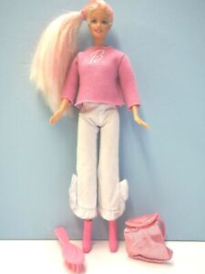 Very Beautiful Barbie Doll , Sweater, Sparkle Backpack, Hairbrush