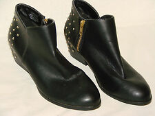 H & M Womens Black Vinyl Fashion Ankle Boot Shoe NWOB - Size 6M or 37 EUR
