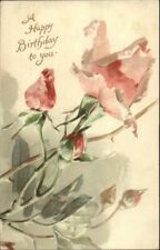 C. Klein Flowers Pink Rose Happy Birthday Ernest Nister 3448 c1910 Postcard