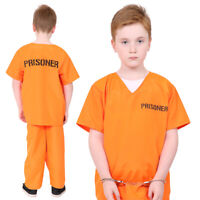 CHILDS ORANGE PRISONER COSTUME KIDS FANCY DRESS UNISEX CONVICT COPS & ROBBERS