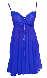 Sexy Damen Nachtwäsche Blau Dessous Kleid Reizwäsche mit Slip Negligee 8015
