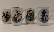 Collection Set of 4 Norman Rockwell Museum Porcelain Coffee Tea Mugs Cups 1982