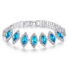 Fashion Aquamarine Zircon Silver Plated for Women Jewelry Bracelet 8'' NS2153