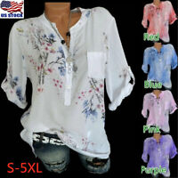 Womens Short Sleeve Casual V Neck Tops Loose Floral Button Blouse Tee T Shirt US