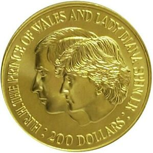 $200 Two Hundred Dollar Gold Coin 22ct Carat 1981 Lady Diana, Prince Charles UNC