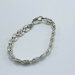 """Mariner Anchor Puffed Link Chain Bracelet 925 Silver Sterling Italy IBB 7.5"""""""