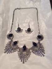 CLEOPATRA BID NECKLACE WITH MATCHING EARRINGS BLACK ONYX