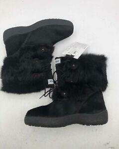 Pajar Black Rabbit Fur Waterproof  Snow Boots - Size 40 NWT Women's