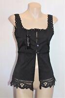 Decoline Brand Black Lace Trim Button Front Cami Top Size 8 BNWT #SL49