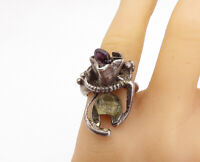 925 Sterling Silver - Vintage Amethyst Modernist Cocktail Ring Sz 8 - R17912