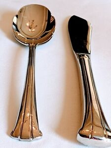 Gorham TRILOGY STAINLESS Sugar Spoon and Butter Knife Mint Condition