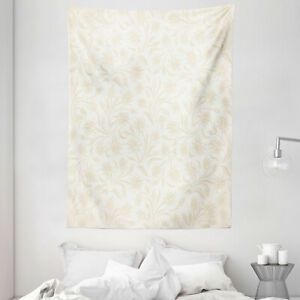 Ivory Tapestry Baroque Blooms Artistic Print Wall Hanging Decor