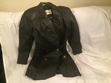 Vintage Wilsons Women's Black Leather Coat Size Small