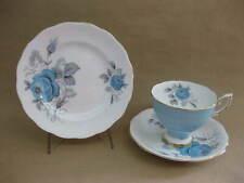 Royal Standard China Trio Tea Cup Saucer & Plate ~ Harlequin ~ 2436 ~ Blue Rose