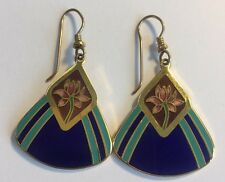 Women Laurel Burch Water Lily Lotus Triangle Gold Filled French Hook Earrings