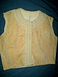 ANTIQUE  19 C BALKAN FOLK ART SUEDE WOMENS VEST