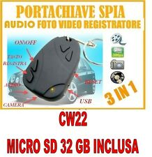 PORTACHIAVI SPIA TELECOMANDO SD32GB  MICROCAMERA CON FOTOCAMERA VIDEOCAMERA CW22