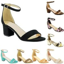 New Women Ankle Strap Chunky Block Mid Heel Dress Open Toe Sandal
