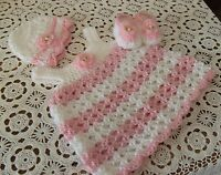 -Handmade  Crochet Outfit,Shoes Dress and  Hat 0-3 MO by Rocky Mountain Marty.