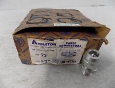 "APPLETON QTY 25 1/2"" CABLE CONNECTORS OK-4750 NIB"