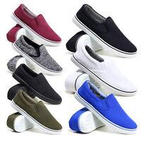 Mens Slip On Canvas Shoes Casual Espadrilles Deck Plimsolls Trainers Pumps