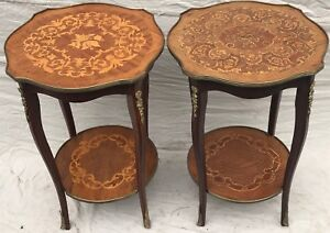 EARLY 20TH C FRENCH LOUIS XV ANTIQUE STYLE MARQUETRY END TABLES W/ FLORAL MOUNTS