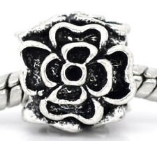 Rose Flower Charmadillo Floral Spacer Charm for Silver European Bead Bracelets