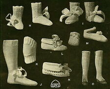 8 Vintage,antique,knitting patterns-baby & adults booties,slippers,gaiters