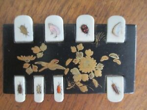 ANTIQUE JAPANESE SHIBAYAMA WHIST MARKER COUNTER INSECTS BIRDS LACQUER