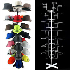 7 Tiers Hat & Cap Display Retail Hat Cap Rack Rotating Spinner Metal Stand White