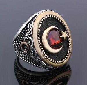 Solid 925 Sterling Silver Ottoman Crescent Moon Star Garnet Stone Men's Ring