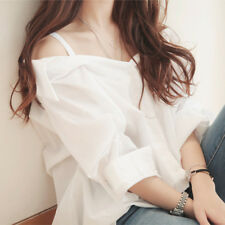 Women Fashion Off Shoulder Korean T Shirt Casual Loose Tops Blouse Tank Top