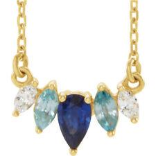 multi-gemstone & .07 CTW Diamante curvada barra Collar en 14k ORO AMARILLO
