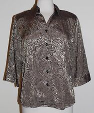 Allison Daley Petite Gold Black Button Front Shirt Blouse Top Size 10P 10