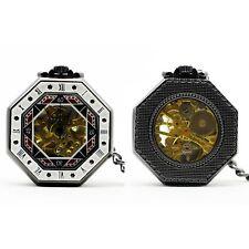 White OCtagonal Mechanical Hand Wind Skeleton Pocket/Fob Watch Steampunk/Victori
