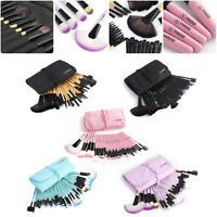 Ladies 32pcs Muticolor New Eyebrow Shadow Soft Makeup Brush Set Kit + Pouch Bag