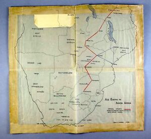 IMPERIAL AIRWAYS VINTAGE ROUTE MAP IN SOUTH AFRICA - 1936 JOHN STROUD TRACING
