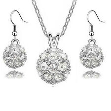 Schmuckset Kette Anhänger Ohrringe Shamballa Kugel Halskette Silber Diamant Weiß