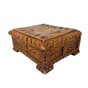 Vintage Arnel's Ceramic Chest Box Jewelry Trinket Box Wood pattern 9x8x4 in