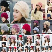 Women Ladies Winter Warm Knit Beret Hat Crochet Slouchy Baggy Peaked Beanie Cap
