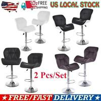 Adjustable Set of 2 Counter Height PU Leather Bar Stools Swivel Chair Pub Dining