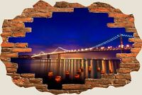 3D Hole in Wall San Francisco Nights View Wall Sticker Decal Wallpaper Mural 846