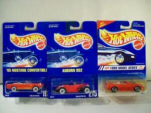 NEW HOT WHEELS DIE CAST RED CONVERTIBLE CARS LOT AUBURN 852 MERCEDES '65 MUSTANG